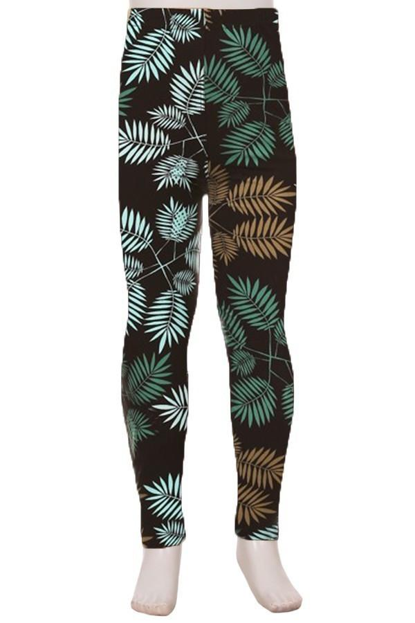 Girls Tropical Fern Printed Leggings Blue:  S and L - MomMe and More Matching Mommy and Me Clothing