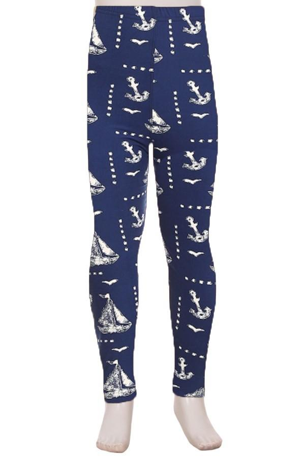Girls Sailboats Leggings Nautical Anchors Blue/White: S/L - MomMe and More
