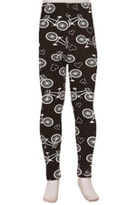 Girl's Bike Leggings Bicycles & Hearts Black/White: S/L - MomMe and More