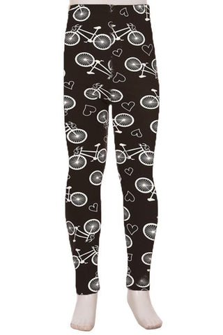 Girl's Bike Printed Leggings Black: S and L Leggings MomMe and More