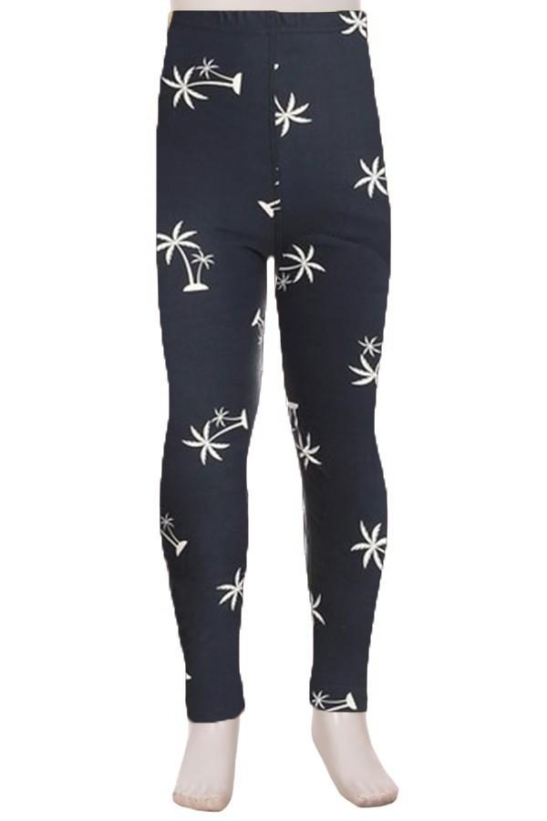 Girl's Palm Tree Leggings Tropical Plants Blue/White: S/L - MomMe and More