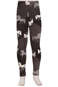 Leggings for Girls Horse Equestrian Cowgirls,  S/L - MomMe and More