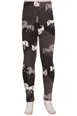 Girl's Horse Western Printed Leggings Black: S and L Leggings MomMe and More