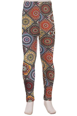 Girl's Fall Mosaic Printed Leggings Brown: S and L Leggings MomMe and More