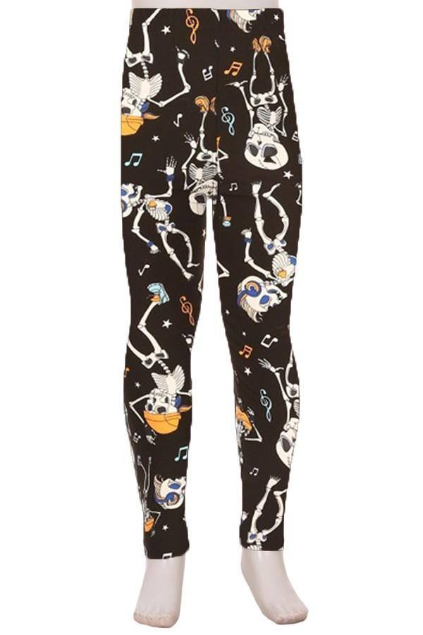 Girl's Skeleton Halloween Printed Leggings Black/White: S/L - MomMe and More