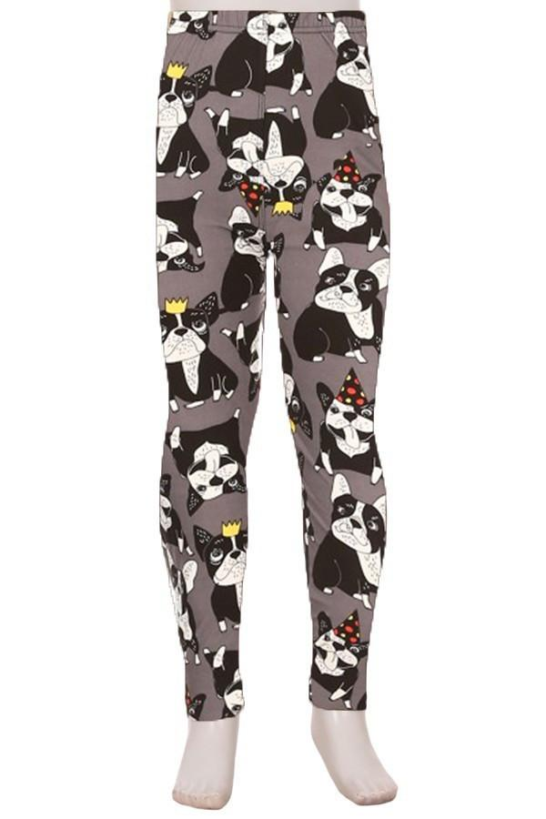 Girls Boston Terrier Leggings Birthday Party Dogs Gray: S/L - MomMe and More