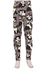 Girl's Boston Terrier Dog Leggings Gray: S and L Leggings MomMe and More