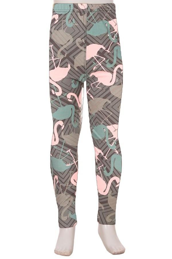 Girl's Pink Flamingo Printed Leggings Gray: S and L - MomMe and More Matching Mommy and Me Clothing