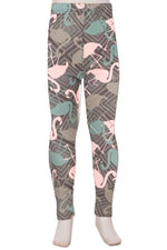 Girls Flamingo Leggings Pink Blue Gray: S/L - MomMe and More