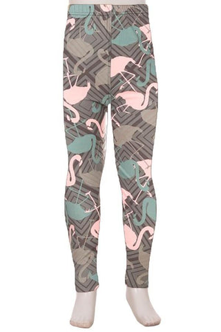 Girl's Pink Flamingo Printed Leggings Gray: S and L Leggings MomMe and More