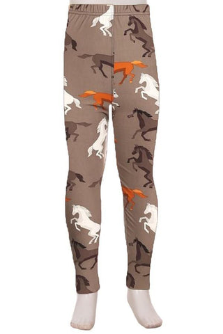 Girl's Horse Western Printed Leggings Gray: S and L Leggings MomMe and More