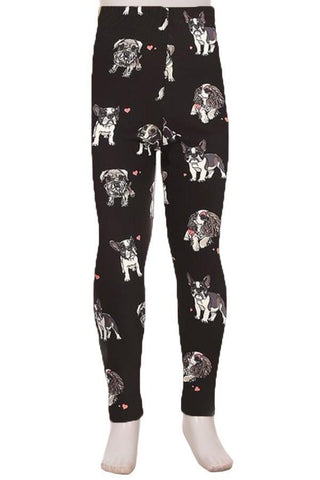 Girl's Puppy Dogs Printed Leggings Black: S and L Leggings MomMe and More