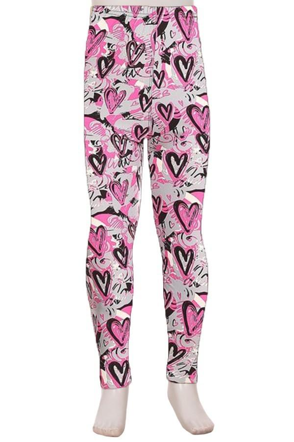 Girl's Heart Printed Leggings Gray: S and L