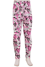 Girl's Heart Printed Leggings Gray: S and L Leggings MomMe and More
