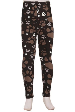 Girl's Dog Paw Print Leggings Black/Brown: S and L Leggings MomMe and More