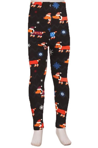 Girl's Dachshund Christmas Dog Leggings Black: S and L Leggings MomMe and More