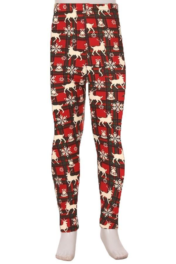 Girl's Red Plaid Reindeer Holiday Printed Leggings: S/L - MomMe and More