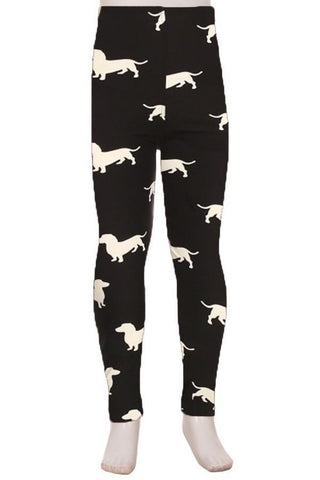 Girls Dachshund Dog Leggings: Black/White Leggings MomMe and More