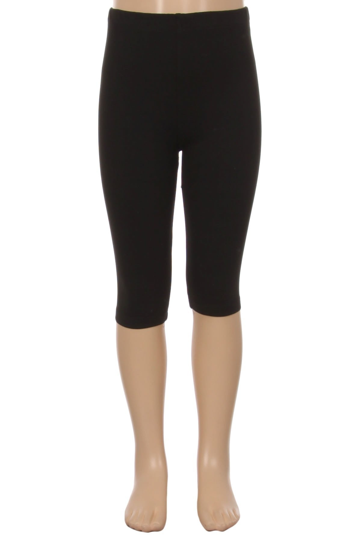 Girl's Black Capri Leggings Solid Black: S/L - MomMe and More