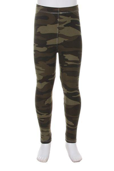 Girl's Camouflage Leggings Army Green: S/L - MomMe and More