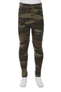 Girl's Camouflage Leggings Army Green: S/M/L - MomMe and More