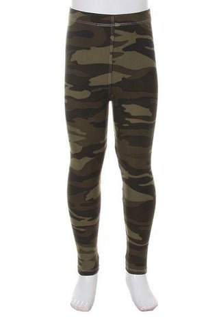 Girl's Camouflage Leggings Camo Green: S and L Leggings MomMe and More
