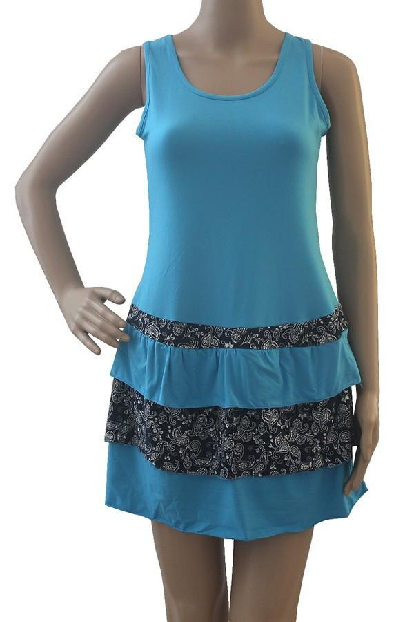 50% Off Women's Sleeveless Ruffled Paisley Dress Teal Blue: S Tunics MomMe and More