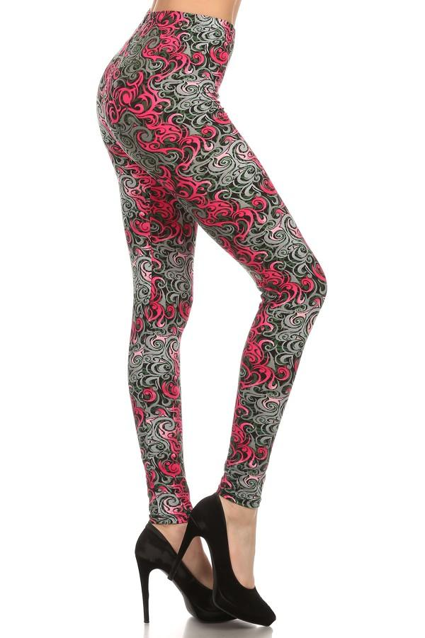 Women's Thorn Vine Printed Leggings Pink: OS and Plus MomMe And More