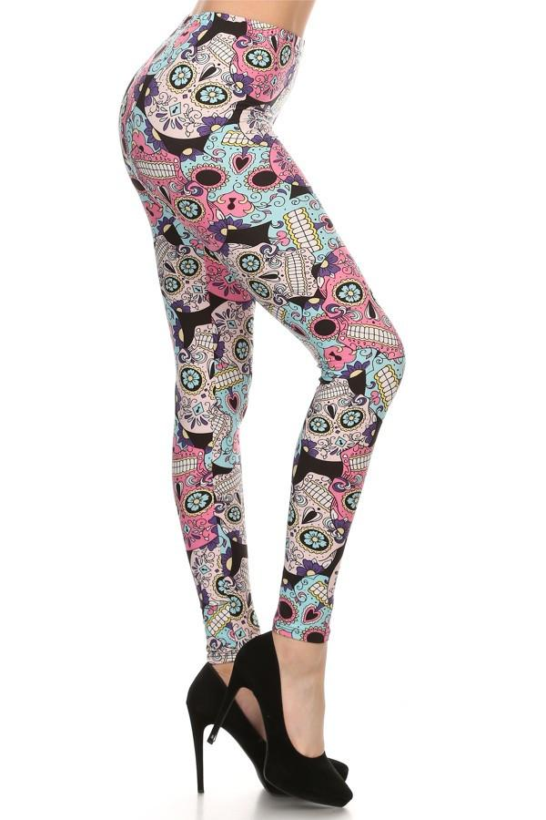 Women's Sugar Skull Printed Leggings Pink: OS and Plus Leggings MomMe and More