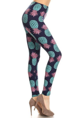 Women's Pineapple Printed Leggings Blue: OS and Plus Leggings MomMe and More
