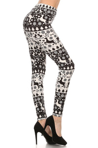 Christmas Leggings for Women BLACK & WHITE REINDEER OS/PLUS