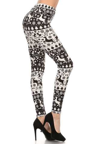 Women's Christmas Holiday Printed Leggings Reindeer Black/White: OS and Plus Leggings MomMe and More