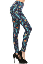 Women's Peacock Printed Leggings Blue: OS and Plus Leggings MomMe and More