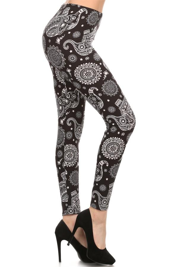 Women's Elephant Leggings Paisley Black/White: OS/PLUS - MomMe and More