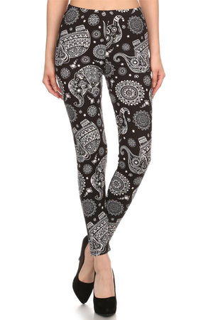 Women's Elephant Paisley Printed Leggings: OS and Plus Leggings MomMe and More