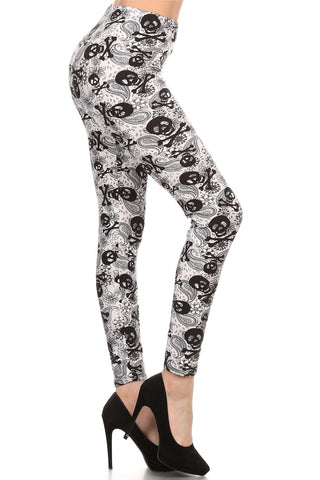 Women's Skull Paisley Leggings White: OS and Plus Leggings MomMe and More