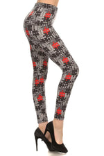 Women's Puzzle Printed Leggings Black/Red/White: OS/PLUS - MomMe and More