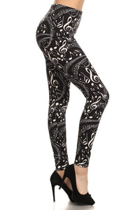 Leggings for Women Music Notes Black/White: OS/PLUS