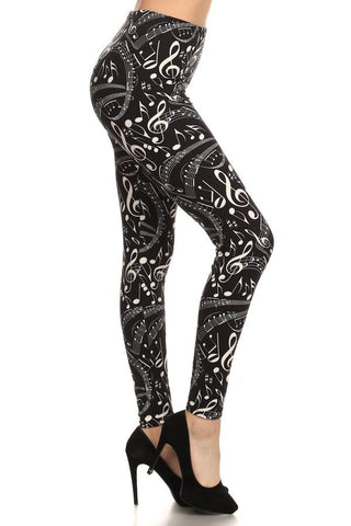 Women's Music Note Printed Leggings Black/White: OS and Plus Leggings MomMe and More