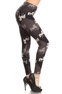 Women's Horse Leggings Western Equestrian Print Black/White: OS/PLUS - MomMe and More
