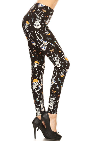 Women's Pirate Skull Leggings Black: OS and Plus Leggings MomMe and More