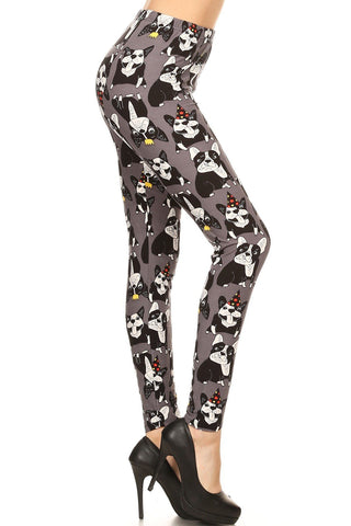 Women's Boston Terrier Dog Leggings Gray: OS and Plus Leggings MomMe and More