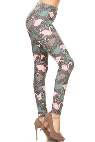 Women's Pink Flamingo Printed Leggings: OS and Plus Leggings MomMe and More