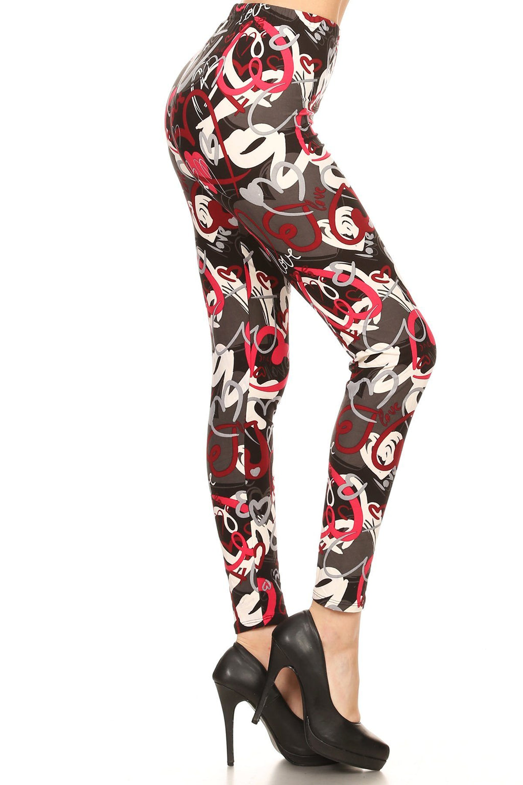 Women's Hearts Printed Leggings Red Black: OS and Plus Leggings MomMe and More