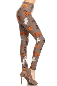 Leggings For Women Horses Equestrian Gray/Brown:  OS/PLUS