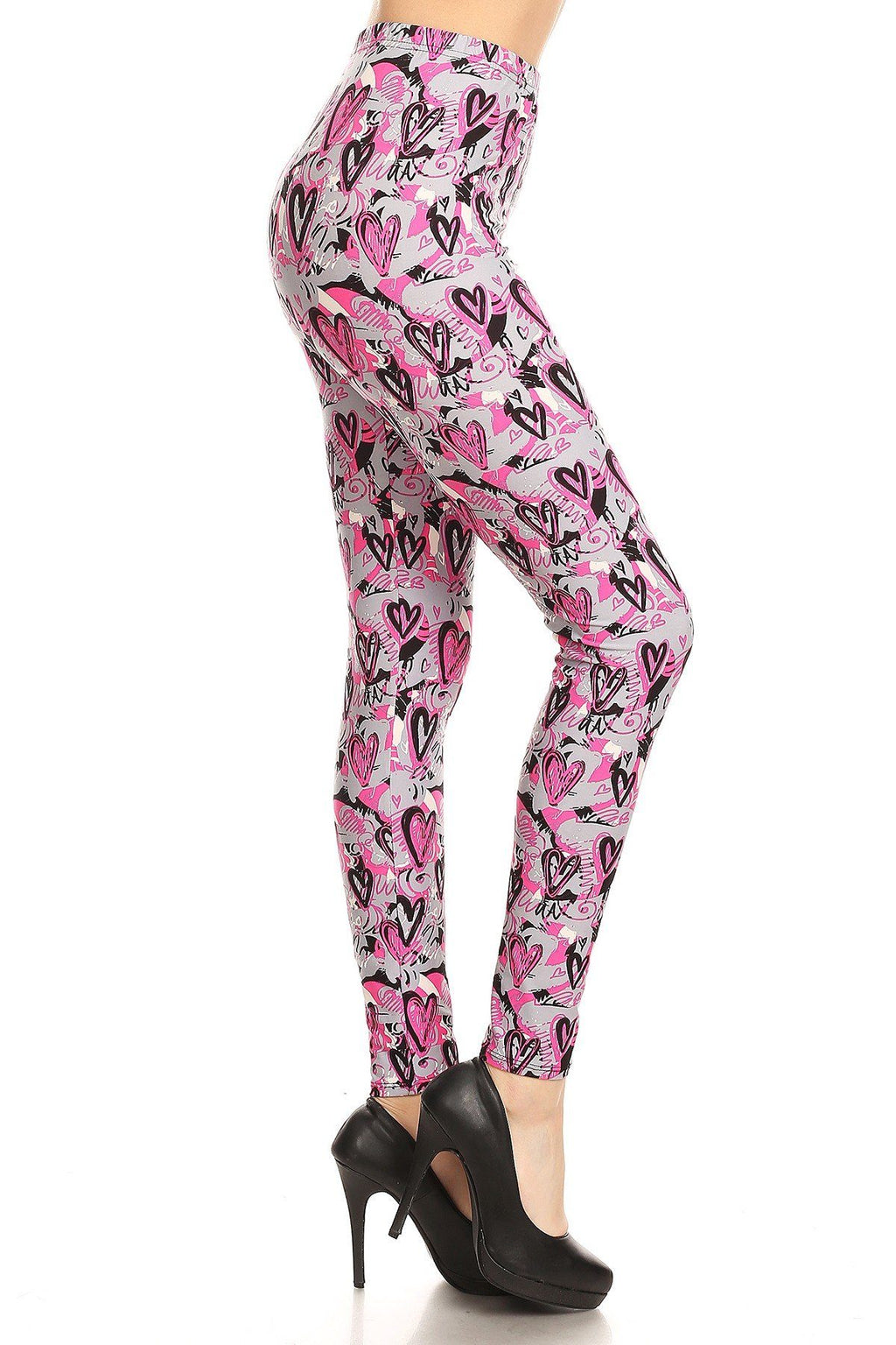 Women's Heart Printed Leggings Pink: OS and Plus Leggings MomMe and More