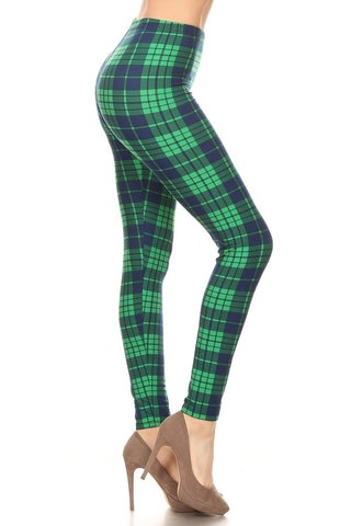 Womens Christmas Green Plaid Leggings Leggings MomMe and More