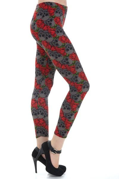 Women/Juniors Skull Leggings Red Roses & Skulls Red/Gray: OS/Plus - MomMe and More