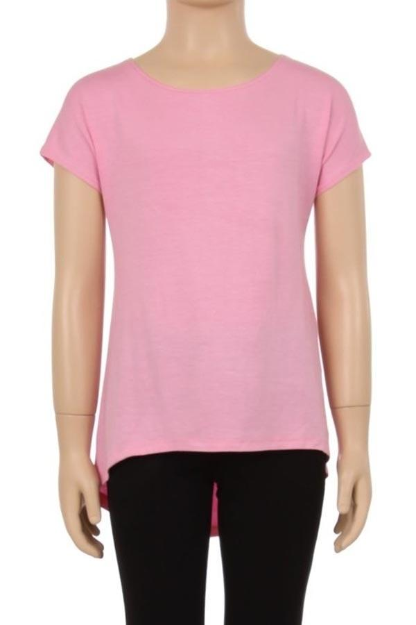 Pink Tunic Top For Girls Short Sleeve Solid Pink Shirt: S/M/L/XL - MomMe and More