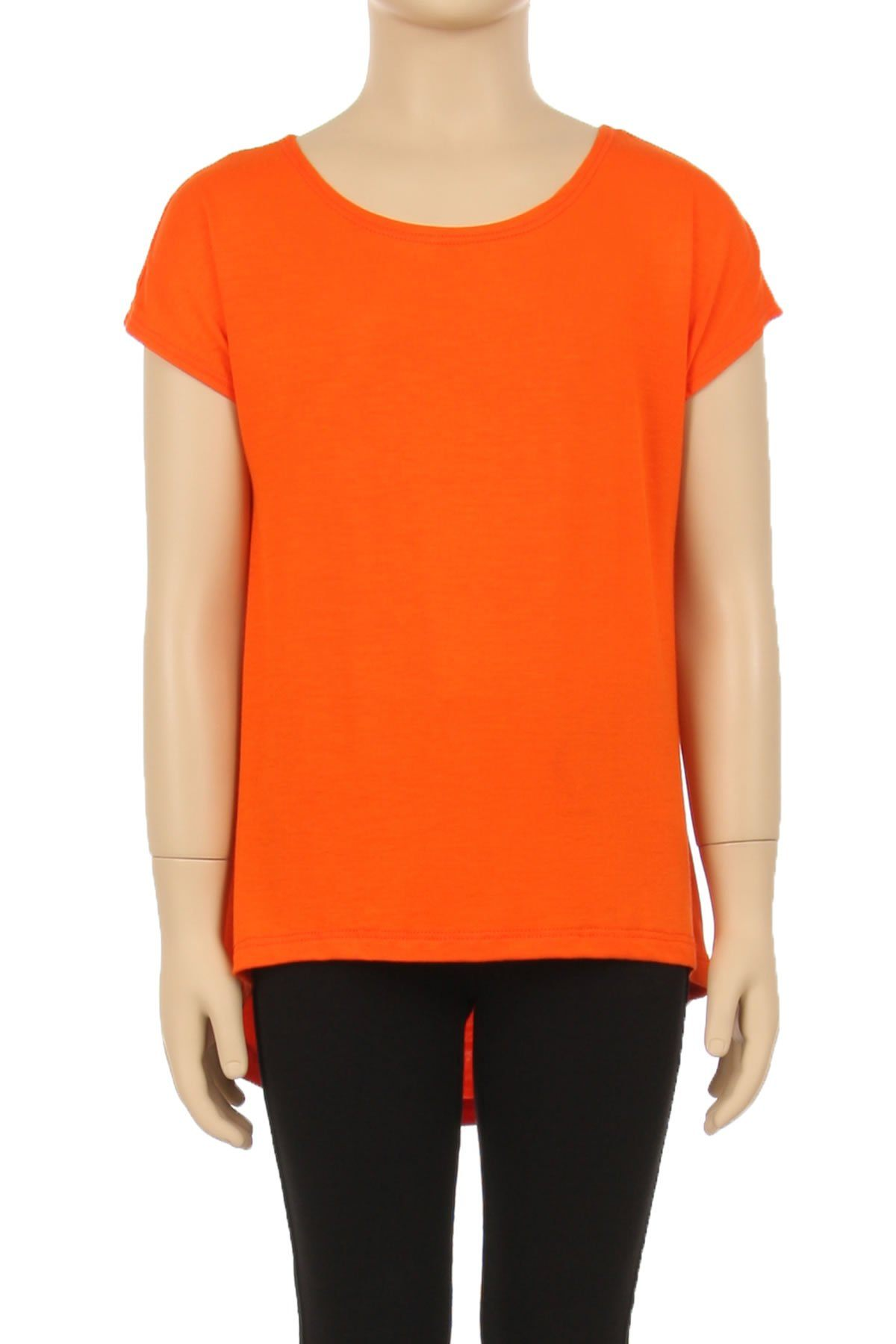Girl's Orange Tunic Top Short Sleeve Asymmetric: S/M/L/XL - MomMe and More